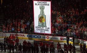 Blackhawks banner-raising